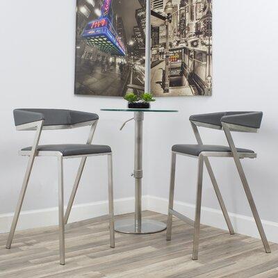 Deschamps Low Back 26.5 Bar Stool Upholstered: Gray
