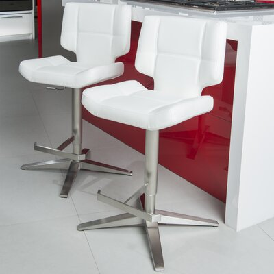 Patchin Adjustable Height Swivel Bar Stool Color: White