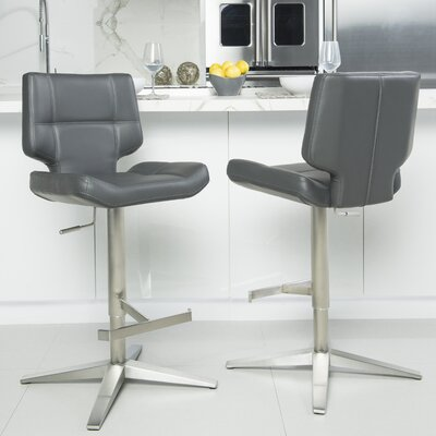 Patchin Adjustable Height Swivel Bar Stool Color: Gray
