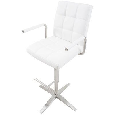 Ballyrobert Checkered Pattern Adjustable Height Swivel Bar Stool with Arms Upholstery: White