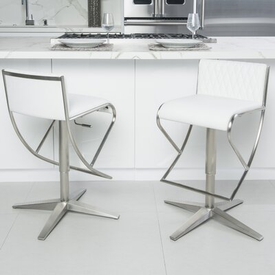 Balmer Diamond Pattern Low Back Adjustable Height Swivel Bar Stool Upholstery: White
