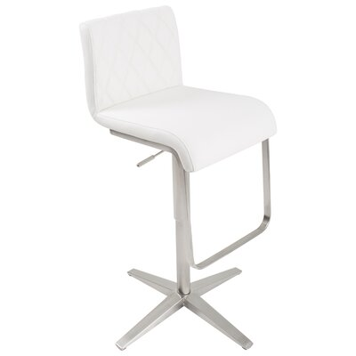 Ventanas Brushed Stainless Steel Diamond Adjustable Height Swivel Bar Stool Upholstery: White