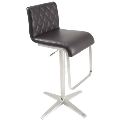 Ventanas Brushed Stainless Steel Diamond Adjustable Height Swivel Bar Stool Upholstery: Brown