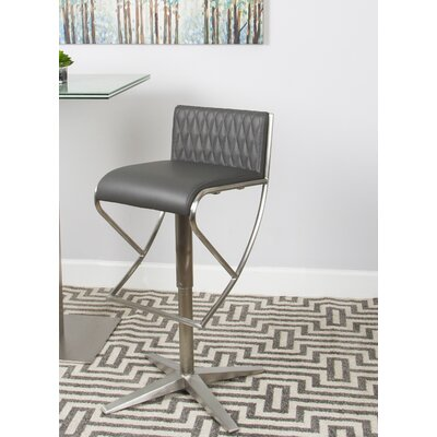 Balmer Diamond Pattern Low Back Adjustable Height Swivel Bar Stool Upholstery: Gray