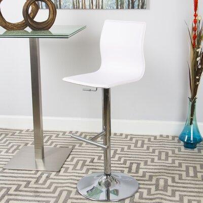 Adjustable Height Swivel Bar Stool Upholstery: White