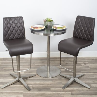 Helfer High-Back Adjustable Height Swivel X Base Bar Stool Upholstery: Brown