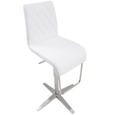 Helfer High-Back Adjustable Height Swivel X Base Bar Stool Upholstery: White