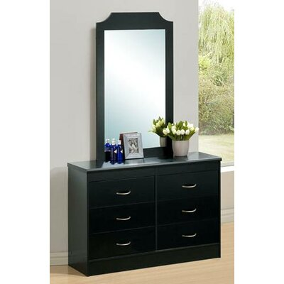 6 Drawer Double Dresser with Mirror Color: Black