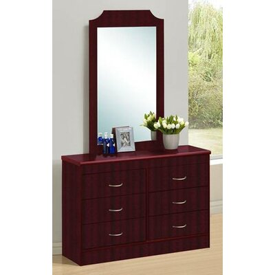 6 Drawer Double Dresser with Mirror Color: Mahogany