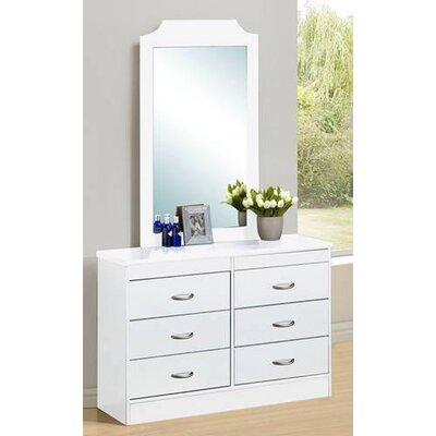 Hodedah 6 Drawer Dresser - Finish: White