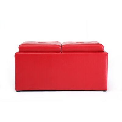Elmwood Medium Storage Ottoman Upholstery: Red