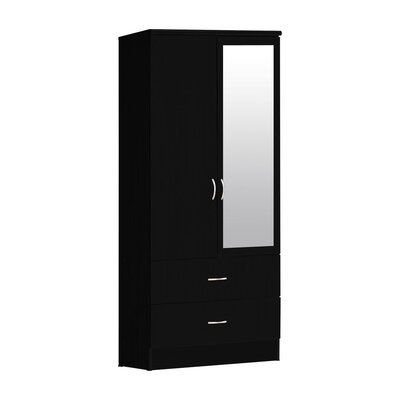 2 Door Armoire Finish: Black