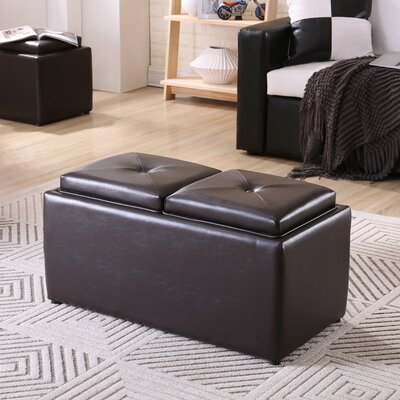 Elmwood Storage Ottoman Upholstery: Brown