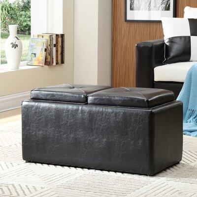 Elmwood Storage Ottoman Upholstery: Black