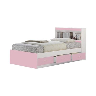 Airdrie Twin Captains Bed with 3 Drawers Bed Frame Color: Pink