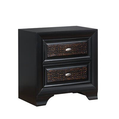 Farrah Embossed 2 Drawer Nightstand