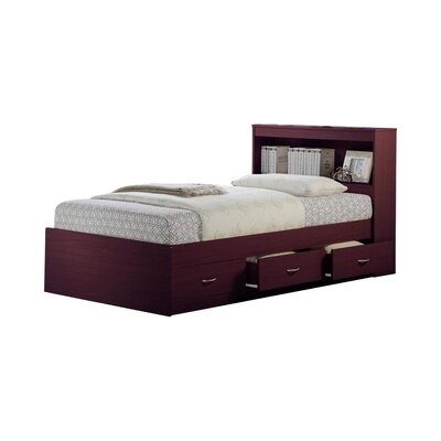 Airdrie Twin Captains Bed with 3 Drawers Bed Frame Color: Mahogany