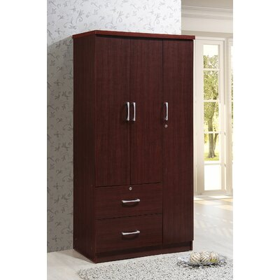 Blankenship 3 Door Armoire Color: Mahogany