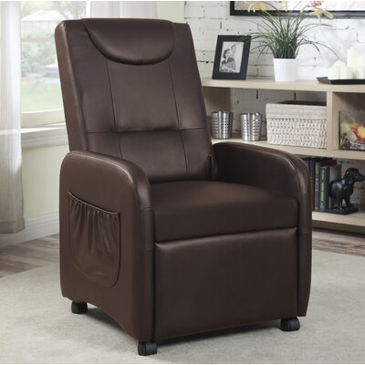 Hodedah Manual Recliner Upholstery: Brown