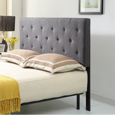 Fredricks Upholstered Panel Headboard Size: Twin, Upholstery: Gray