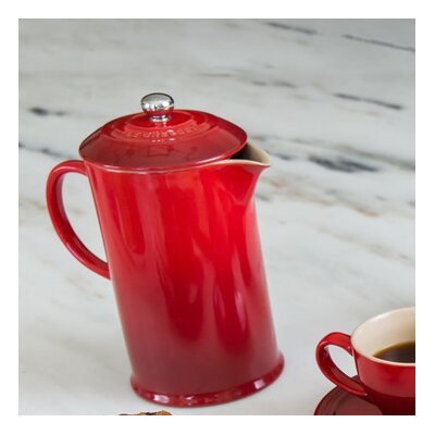 """Le Creuset French Press - 27 fl oz 6.50"""" Width Coffee Press - Stoneware, Stainless Steel - Dishwasher Safe"""
