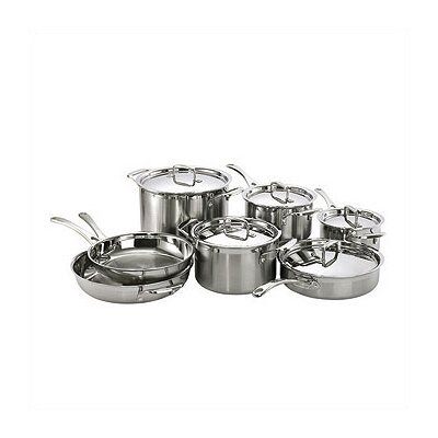 3-Ply Stainless Steel 12-Piece Cookware Set with Crate