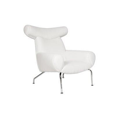 Lorenzo Club Chair and Ottoman Color: White