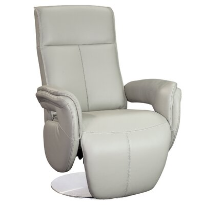 Monica Leather Manual Swivel Recliner Finish: Gray