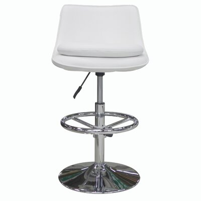 Ice Adjustable Height Swivel Bar Stool with Cushion Upholstery: White