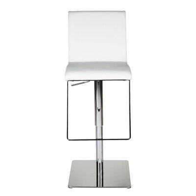 Gia Adjustable Height Swivel Bar Stool Upholstery: White