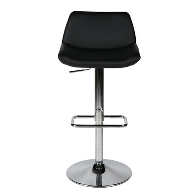 Maya Adjustable Height Swivel Bar Stool Upholstery: Black