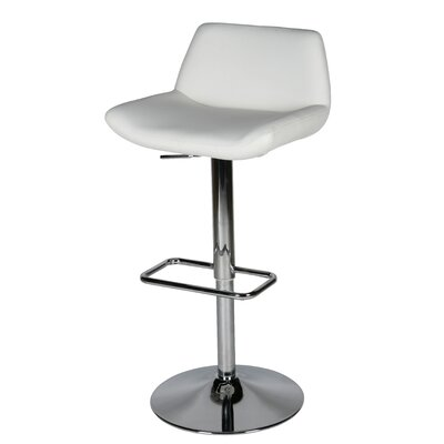Maya Adjustable Height Swivel Bar Stool Upholstery: White