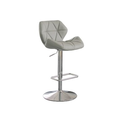 Aaron Adjustable Height Swivel Bar Stool Upholstery: Grey