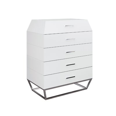 Angulatus 5 Drawer Chest Color: White
