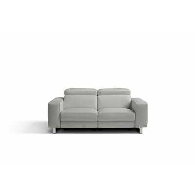 Sania Genuine Leather Love Seat Upholstery: Light Gray