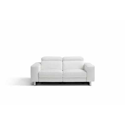 Sania Genuine Leather Love Seat Upholstery: White