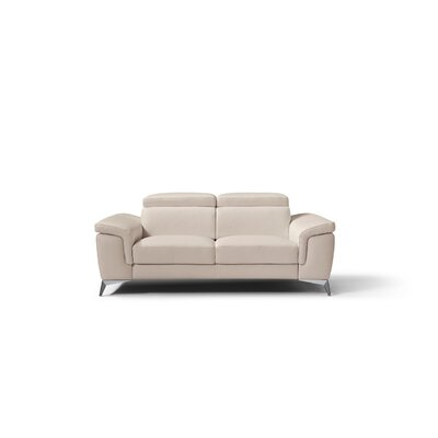 Mikayda Genuine Leather Love Seat Upholstery: Taupe