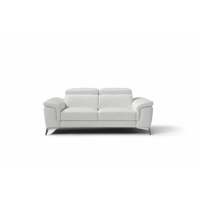 Mikayda Genuine Leather Love Seat Upholstery: White