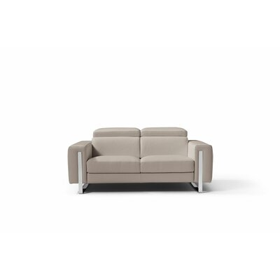 Mindaugas Genuine Leather Loveseat Upholstery: Warm Gray