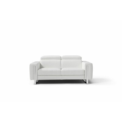 Mindaugas Genuine Leather Love Seat Upholstery: White