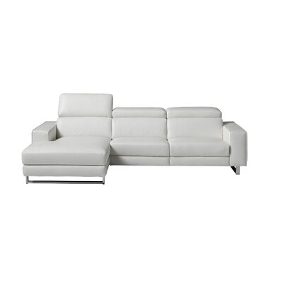 Sania Leather Sectional Upholstery: White, Orientation: Left
