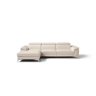 Mikayda Genuine Leather Reclining Sectional Upholstery: Taupe