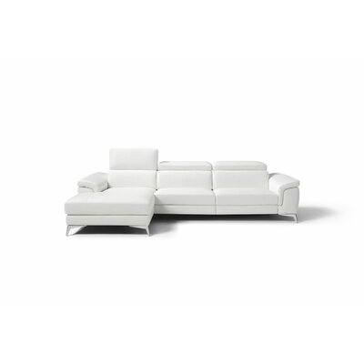 Mikayda Genuine Leather Reclining Sectional Upholstery: White