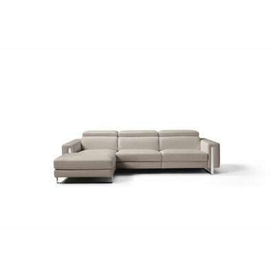 Mindaugas Genuine Leather Reclining Sectional Upholstery: Warm Gray