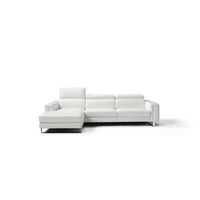 Mindaugas Genuine Leather Reclining Sectional Upholstery: White