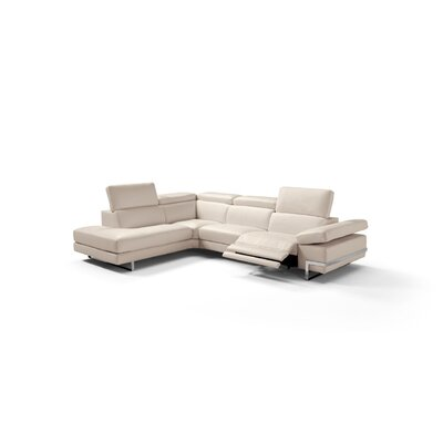 Versha Genuine Leather Reclining Sectional Upholstery: Taupe