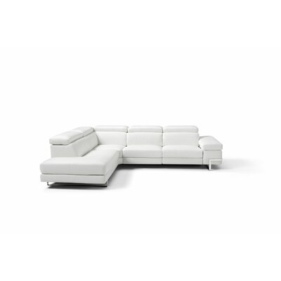 Versha Leather Sectional Upholstery: White