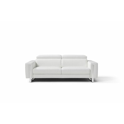 Mindaugas Genuine Leather Sofa Upholstery: White