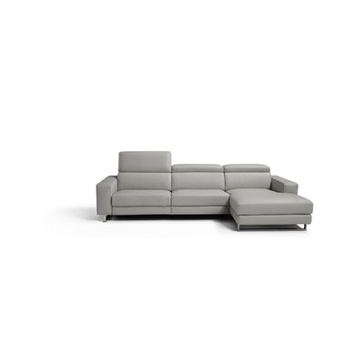 Sania Genuine Leather Reclining Sectional Upholstery: Light Gray, Orientation: Right