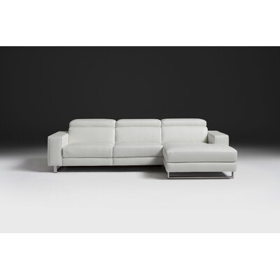 Sania Genuine Leather Reclining Sectional Orientation: Right, Upholstery: White